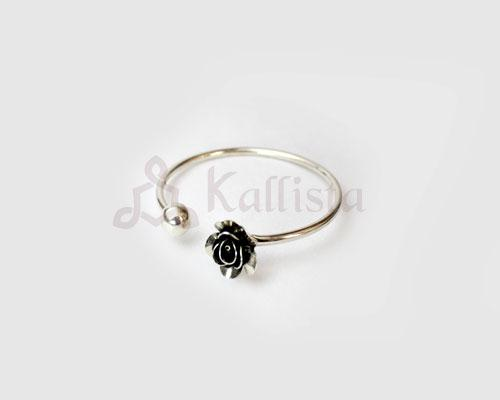 Oxidised Silver Rose Bracelet