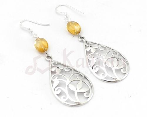 Floral Filgree earrings collection-Citrine