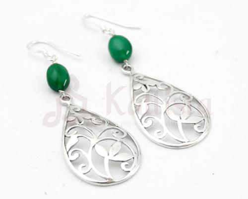 Floral Filgree earrings collection-Green onyx