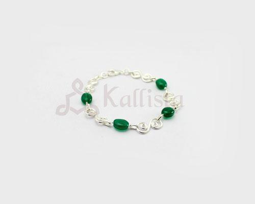 Symphony stone Silver bracelet collection- Green Onyx