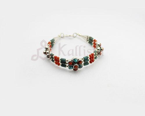 Coral & Turquoise Flower Silver bracelet