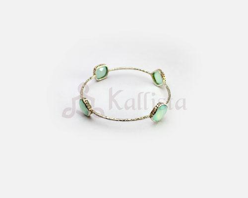 Orbit Stone Silver bangles collection-  Aqua Chalcedony