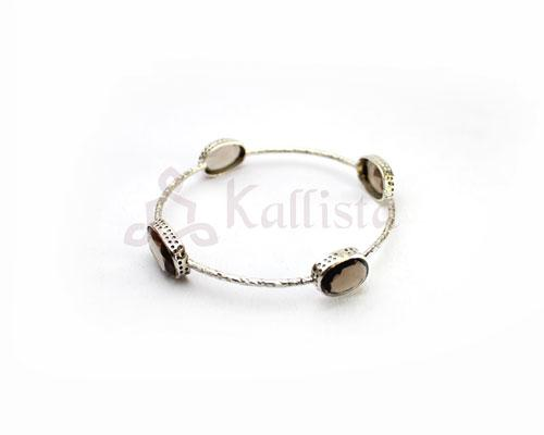 Orbit Stone Silver bangles collection-Smoky topaz