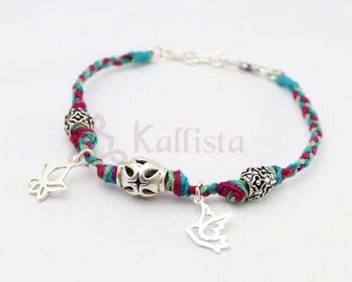 Colorful thread & Silver bracelet with lotus and dove charms