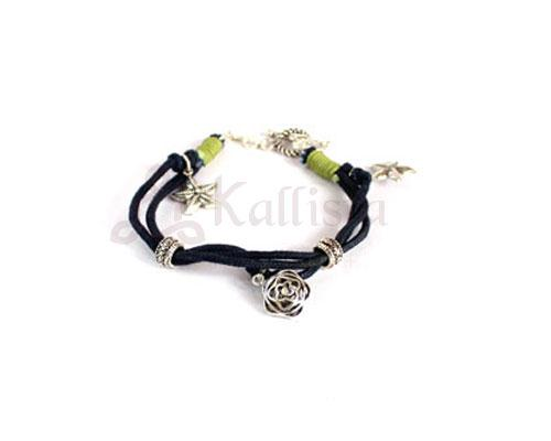 Black thread bracelet with Silver charms