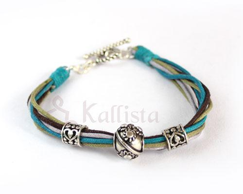 Multi strand bracelets with Silver beads-Teal combo
