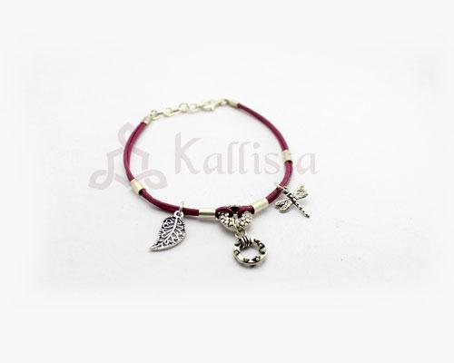 Pink leather bracelet with dangling Silver charms