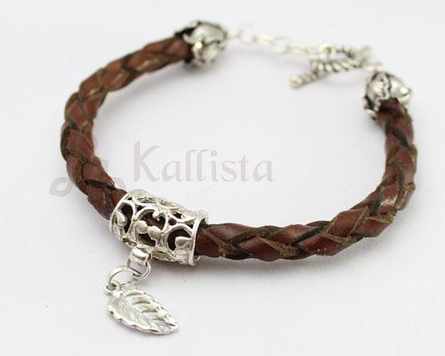 Braided leather & Silver bracelet