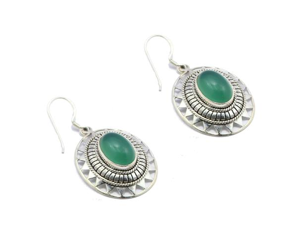 Studded solar earrings collection-Green Onyx