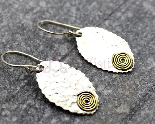 Hammered Silver leaf earrings