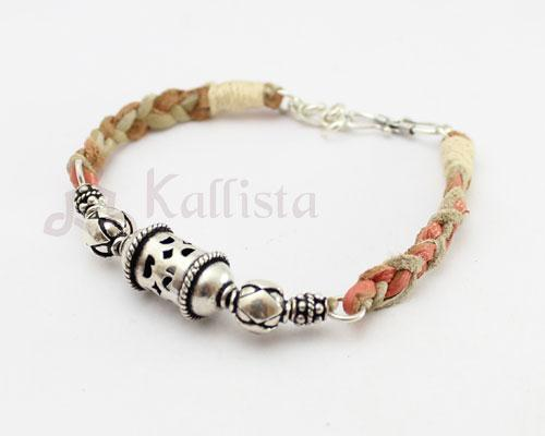 Silver Kanthi bead leather bracelets- Corel & beige