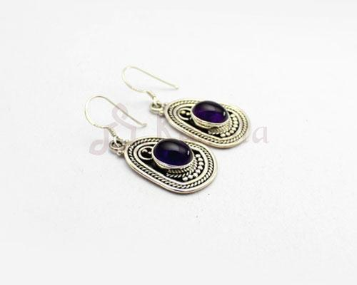 Maharani stone earrings  Amethyst