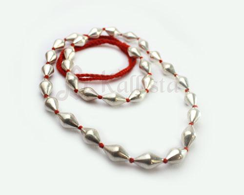 Strand necklace with wax filled silver beads-  Red