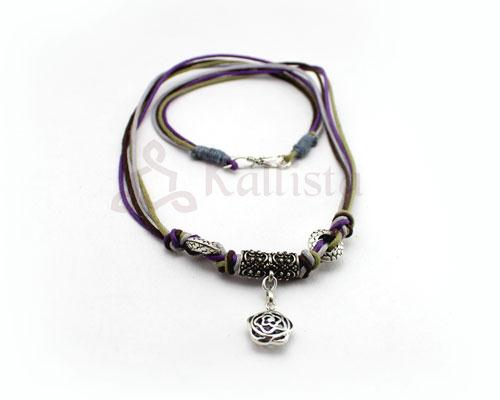 Multistrand  necklace with flower pendant-purple combo