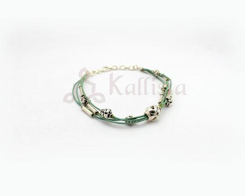 Mint leather multi strand bracelet with Silver beads